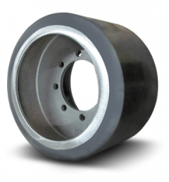 New rubber mid-roller/bogey wheel for MT Challenger tractors for sale at Combine World in Saskatchewan. OEM part # 502932D1. (Profile picture.)