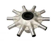 """Stainless steel universal distributor head for any air drills with secondary manifolds/towers with 2.5"""" input and 1"""" outputs. 10 ports."""