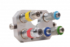 Complete single point block/connector with all hydraulic functions forflex heads with reel fore & aft.