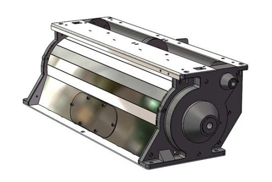 New complete Romafa stainless steel meter housing for John Deere 1900 & 1910 air carts for sale at Combine World in Saskatoon, Saskatchewan and Brandon, MB. OEM part # AA86231, AA85090. (Back view, RHS 3/4 profile. CAD-style 3D rendering.)