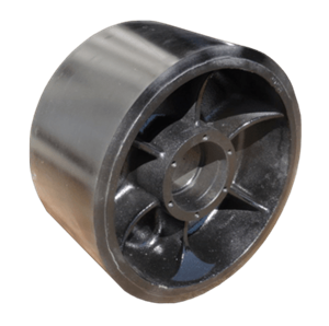 New rubber mid-roller / bogey wheel for STX Quadtrac and Rowtrac tractors for sale at Combine World in Saskatchewan. OEM part # 47827305, 84162383, 48065298. (Profile picture.)