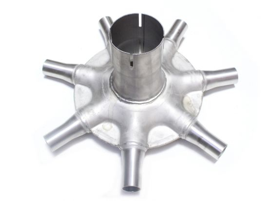 """Stainless steel universal distributor head for any air drills with secondary manifolds/towers with 2.5"""" input and 1"""" outputs. 7 ports."""