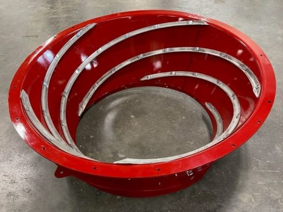 REMAN 87382439, 87382439: Remanufactured heavy-duty Case IH transition cone. AR400 steel-lined, new vanes, complete & ready to bolt in.